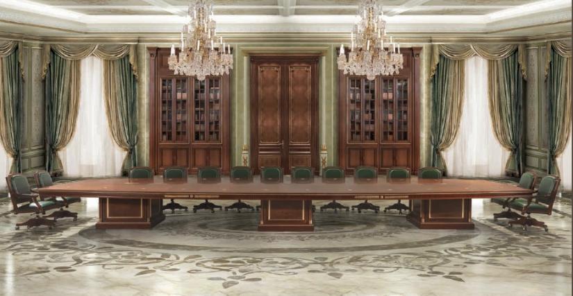 Стол для конференц зала Размеры: Ш 850 Г 300 В 78 Кресло вращающееся Арт. 17631 Размеры: Ш 65 Г 70 В 107