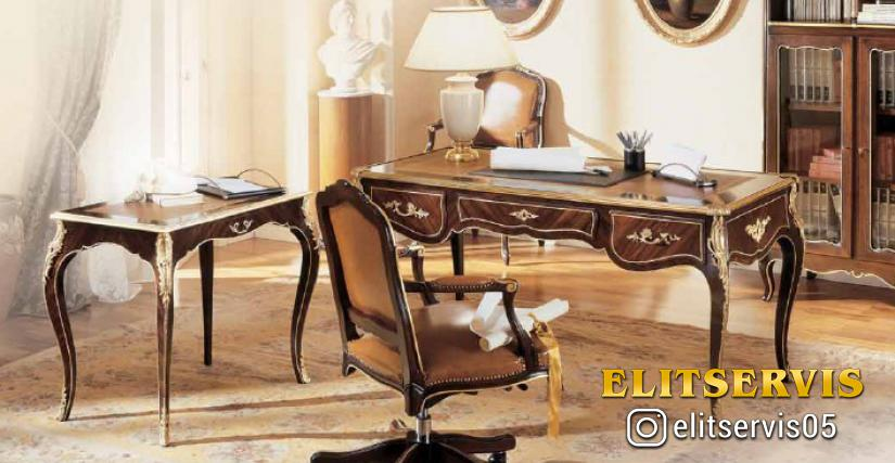 Коллекция Borromini Стол письменный Арт. 9660 Размеры: Ш 160 Г 80 В 79 Вращающееся кресло Арт. 653/G Размеры: Ш 62 Г 63 В 101 Столик Арт. 9661 Размеры: Ш 80 Г 55 В 75 Книжный шкаф Арт. 8146 Размеры: Ш 154 Г 43 В 161