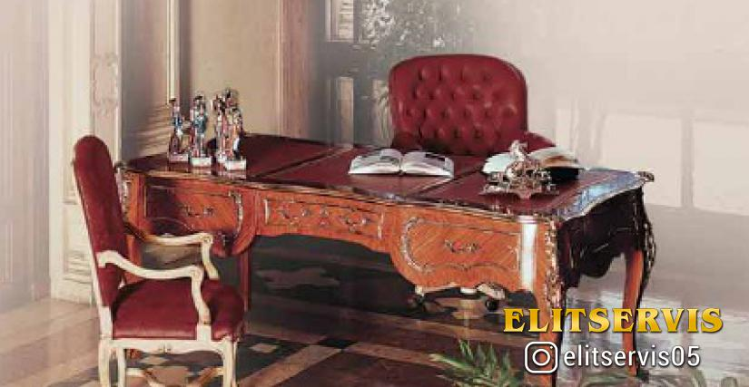 Коллекция Borromini Стол письменный Арт. 9663 Размеры: Ш 204 Г 105 В 84 Вращающееся кресло Арт. 13663 Размеры: Ш 80 Г 85 В 105 Кресло Арт. 7031 Размеры: Ш 61 Г 63 В 106