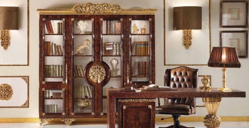 Книжный шкаф 4-х ств.L232 P55 H237 Стол письменный L200 P90 H80 Кресло L80 P66 H 120