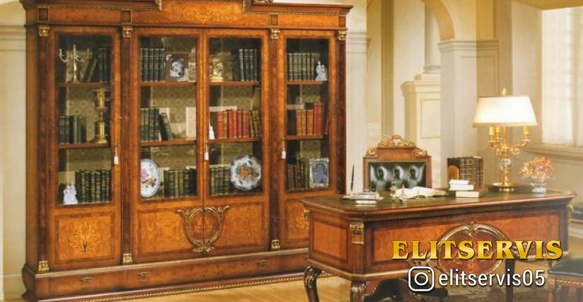 Шкаф книжный L 235 P 48,5 H 235 Стол письменный L 157 P 72 H 81 Кресло L 60 P 60 H 117
