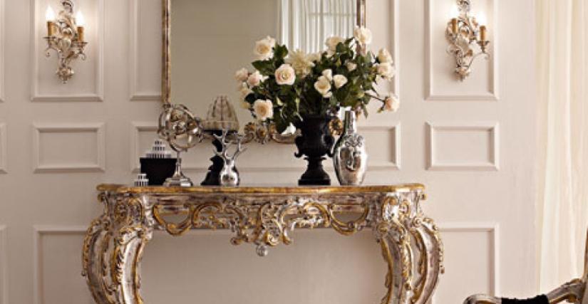 • 3018 консольный столик (L25) cm. 145 x 67 x 105 h. • 3007/S зеркало (L25) cm. 102 x 137 h. • 950 бра (L09) cm. 26 x 42 h.