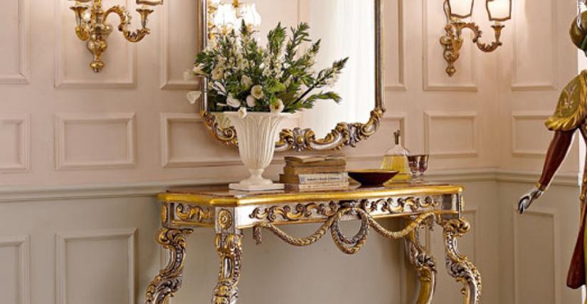 """• 3007 консольный столик (L05 - столешница из красного мрамора """"Verona"""") cm. 148 x 48 x 100 h. • 3007/S зеркало (L05) cm. 102 x 137 h. • 929/2 бра с абажуром-экраном (L05) cm. 40 x 47 h."""