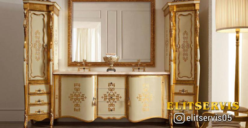 "• 2035 мебель для ванной комнаты с зеркалом (L01 - розовый мрамор ""Portogallo"") cm. 290 x 65 x 222 h."