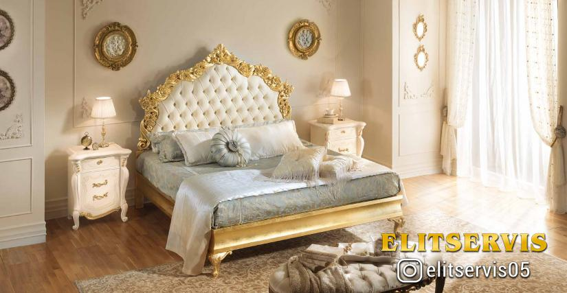 Кровать с мягким изг.(отделка золотом) (сп.м.160х200) Арт. 501 Ш 175 Г 211 В 164
