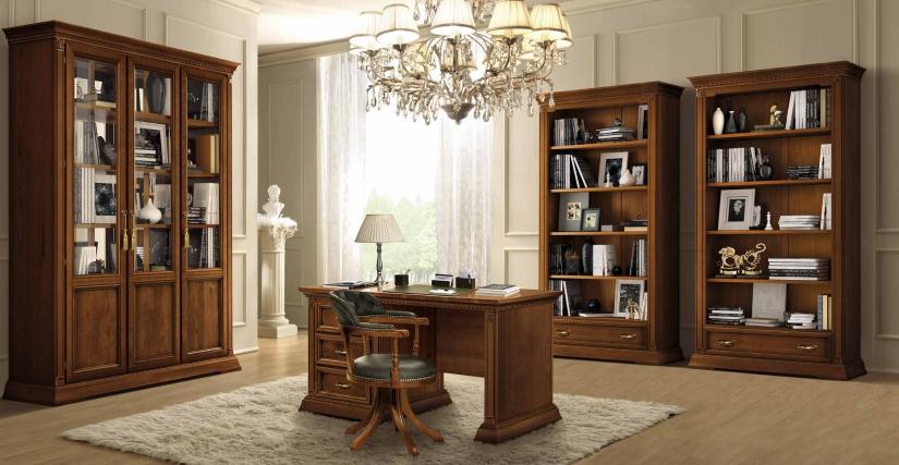 Письменный стол Размеры: Ш.145 Г.75 В.78  Вращающееся кресло Размеры: Ш.49 Г.58 В.83  Книжный шкаф Размеры: Ш.112 Г.45 В.210