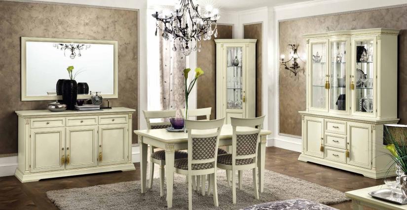 Трехдверный комод Размеры: Ш.158 Г.50 В.90  Прямоугольный стол раздвижной Размеры: Ш.140/230 Г.85 В.78
