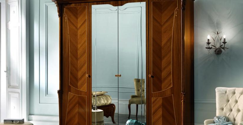 Шкаф 4-х дверный, 2 зеркала Ш 229 Г 75 В 229