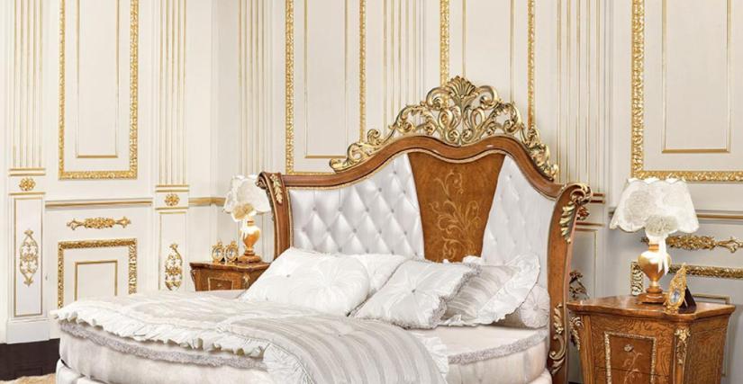 Кровать с панелью, обитой тканью Арт. 822 Размеры: Д 200 Г 271 В 150