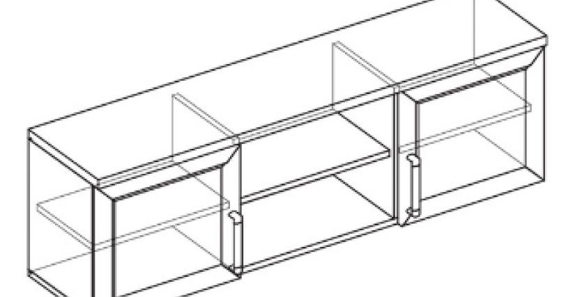 Шкаф настенный 2 дв.  Тип фасада - ДСП Размеры (ВхШхГ): 437х1400х328