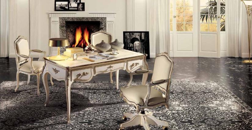 Коллекция Borromini Стол письменный Арт. 9660 Размеры: Ш 160 Г 80 В 79 Вращающееся кресло Арт. 653/G Размеры: Ш 62 Г 63 В 101 Кресло Арт. 653 Размеры: Ш 62 Г 63 В 101