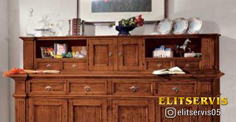 Art. A378 Old Wooden Sideboard L/W. 227 P/D. 53 H. 116