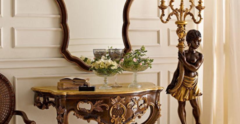 """• 3021 консольный столик (L14) cm. 112 x 56 x 85 h. • 1136 зеркало (L14) cm. 79 x 118 h. • 505/S торшер """"Мавр"""" (L14) cm. ø 40 x 180 h."""