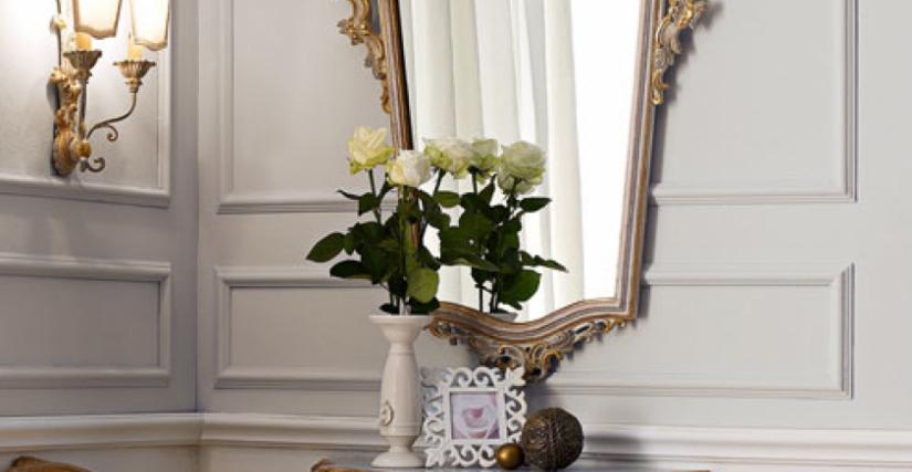 • 3016 консольный столик с ящиком (L22) cm. 76 x 37 x 55 h. • 3016/S зеркало (L22) cm. 75 x 110 h.