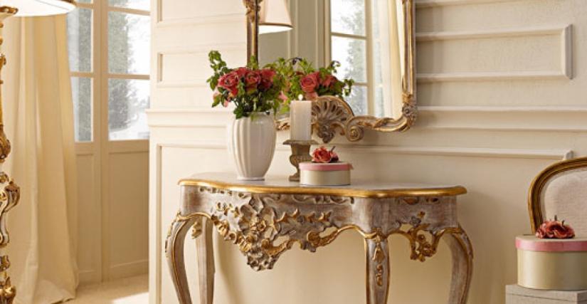 • 3014 консольный столик (L22) cm. 115 x 42 x 86 h. • 3014/S зеркало (L22) cm. 76 x 109 h.