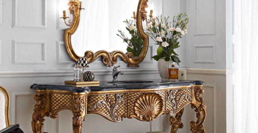 • 3015 консольный столик для ванной (L12 с серебром) cm. 184 x 67 x 92 h. • 3015/S зеркало (L12) cm. 118 x 19 x 129 h. • 715 стул (L04 - S16) cm. 50 x 54 x 99 h