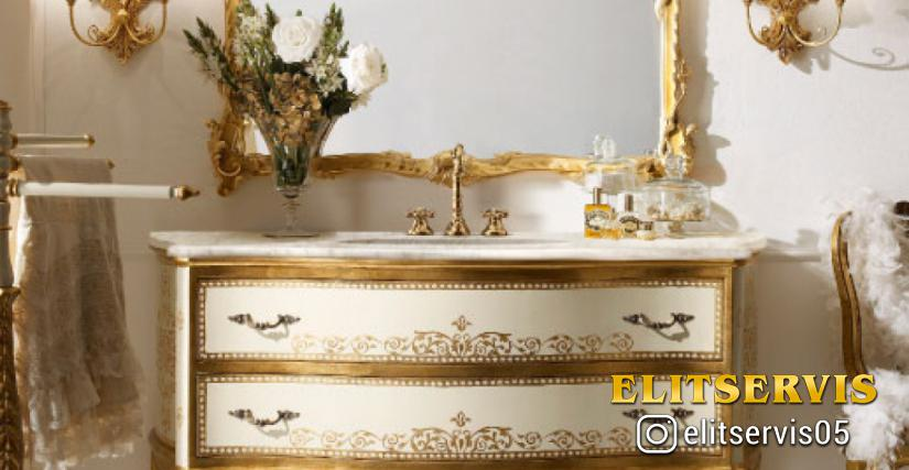 • 2051/B Модуль для ванной (L01 – столешница из мрамора) cm. 164 x 64 x 90 h. 805 Полотенцедержатель (L01) cm. ø 72 x 122 h. 949 Бра (L04) cm. 32 x 48 h. 1131 Зеркало (L04) cm. 130 x 98 h.