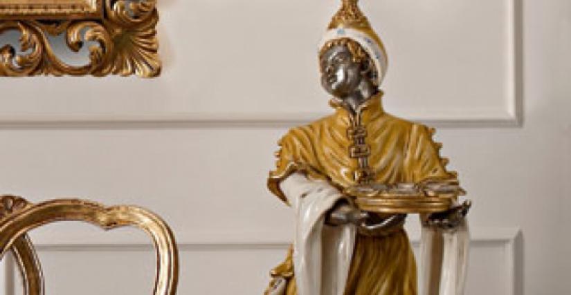 """• 520-10L/D торшер """"мавр"""" с факелом и абажурами в стиле """"барокко"""" (в желтой одежде) cm. ø 60 x 210 h."""