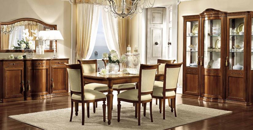 Стул (ткань: RONDO'20) Размеры: Ш.50 Г.59 В.102  Обеденный раздвижной прямоугольный стол с 2 вставками Размеры: Ш.180/225/270 Г.110 В.80
