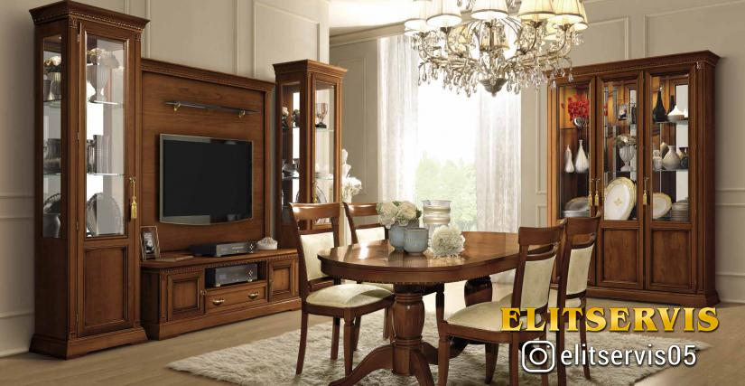 Трёхдверная витрина (полки: стекло) Размеры: Ш.158 Г.45 В.210  Трёхдверная витрина (полки: дерево) Размеры: Ш.158 Г.45 В.210  Однодверная витрина правая левая Размеры: Ш.67 Г.45 В.210  Тумба ТВ Midi Размеры: Ш.140 Г.51 В.50  Настенная панель для ТВ Размер