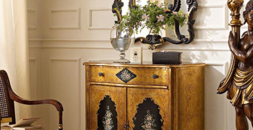 • 287 тумба с декором (резьба, золото и декор) cm. 86 x 40 x 93 h.