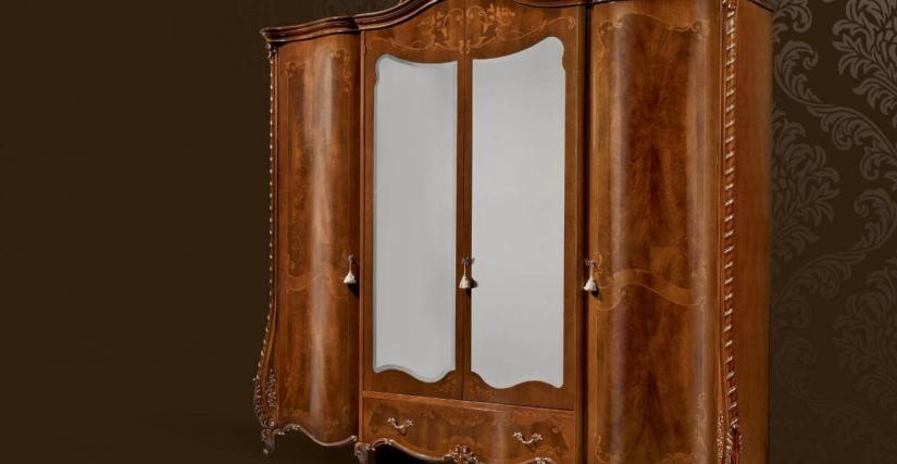 Шкаф 4-х дверный с зеркалами Арт. 1301 Размеры: Ш 293 Г 71 В 263