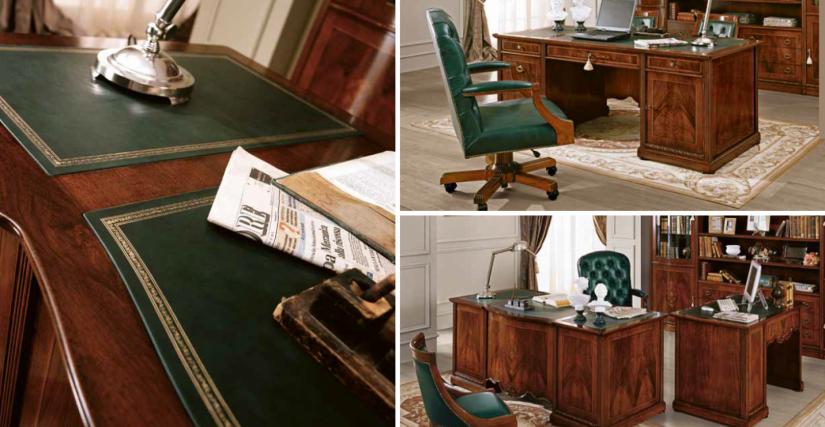 Большой письменный стол Арт. 192 Размеры: Ш 190 Г 90 В 78 Вращающееся кресло (обивка из кожи) Арт. 196 Размеры: Ш 66 Г 57 В 54/118