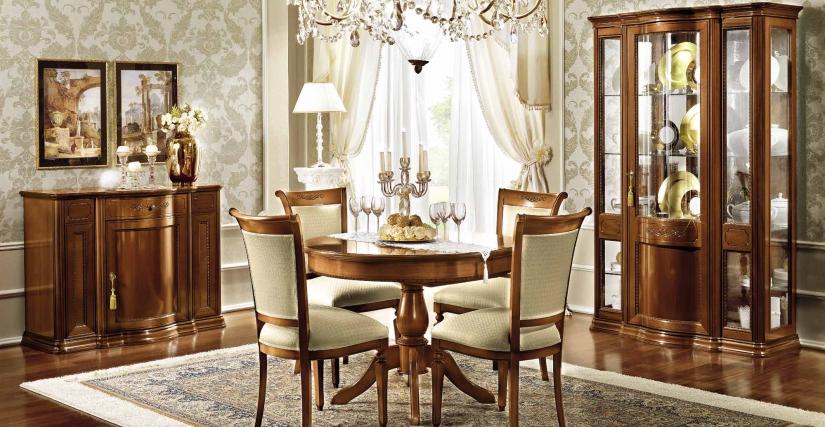 Обеденный раздвижной круглый стол с 1 вставкой Размеры: Ш.110/148 Г.110 В.80