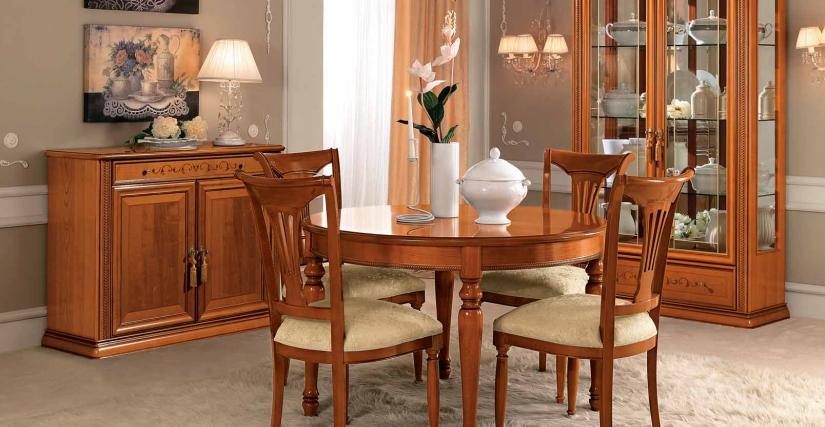 Круглый раздвижной стол Размеры: Ш.120/159 Г.120 В.80  Комод 2 дверцы Размеры: Ш.121 Г.45 В.97  Двухдверная витрина с подсветкой Размеры: Ш.124 Г.47 В.217